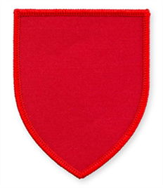 Pack of 25 Red Shield Badges with Velcro (choice of edging colour)