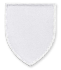 Pack of 25 White Shield Badges with Velcro (choice of edging colour)