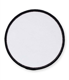 Black Circle Badge with Velcro (choice of edging colour)